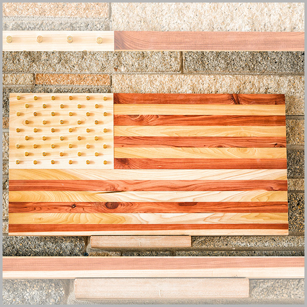 Natural Wood American Flag